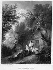 Mother & Kids Children Cottage in Forest by River ~ Old 1862 Art Print Engraving