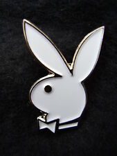 Famous PLAYBOY BUNNY - Quality White Enamel Jacket Lapel/Tie Pin Badge - New!