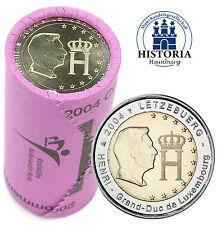25 x 2 Euro Münzen Luxemburg 2004 Monogramm des Großherzoges in Original Rolle