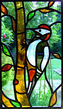 Incorniciato stampa-Stained Glass window Woodpecker (immagine astratta Animale Uccello)