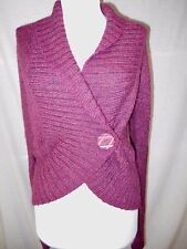 HWR Anthropologie Wrap Cardigan Sweater Sz M Burgundy Navy Marled Wool Alpaca