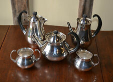 1960s Modernist Eric Clements Mappin and Webb five piece EPNS tea service