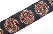 Red Beaded Flowers on Black & Gold Jacquard Trim. Wide Hand Beaded Trim.