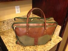 Vintage ORVIS Gokey Green Brown Canvas Leather Duffle Bag
