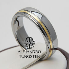 Tungsten Ring Men's Wedding Band 6MM Silver 18K Gold Shiny Line Size 12.5 #UJE