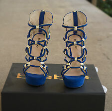 NIB Bebe Blue Gold Charmaine Strappy High Heels Stiletto Size 6