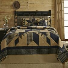DAKOTA STAR Twin Quilt Black/Khaki Primitive Country Lodge Rustic Patchwork