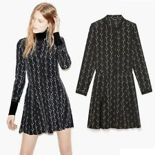 NWT The Kooples Handcuff-Print Polka Dot 100% Silk Dress-Black/Ecru– Small (4-6)