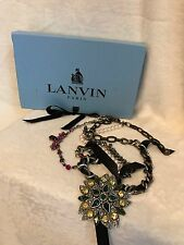 LANVIN Silver & Bronze Tone Crystal Pearl LONG Necklace, Black Ribbon, BOX