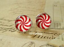 Christmas Peppermint Candy Red and white Cabochon Stud Earring,Earring Post