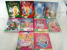 TINKER BELL. 4 WALT DISNEY DVD's & 6 BARBIE DVD'S MOVIES.