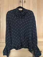 Topshop Boutique navy polkadot cowl neck blouse top Size 10