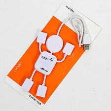 Hot Cute Smiley USB 2.0 High-Speed 4 Port Mini HUB Robot Adapter for PC Laptop