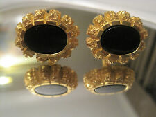 Gold-Tone Nugget-Style Cufflinks with Black Onyx Stones, Signed Destino, Mint!