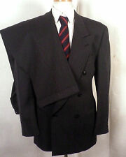 euc Riserva gray 100% Wool Men's Double Breasted Business Suit peak SZ 42 R