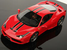 MR COLLECTION 1/18 FERRARI 458 SPECIALE ROSSO SCUDERIA BLACK STRIPES FE010C