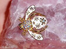 "Exquisite JOAN RIVERS ""WINTER"" BEE Brooch with Colored Crystals  NIB + Gift"