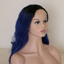 "24""Long Wavy 1B/Blue Lace Front Wig Heat Resistant"