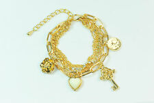 LADIES GOLDEN LAYERED HEART MULTI CHARM BRACELET UNIQUE STATEMENT PIECE (CL11)