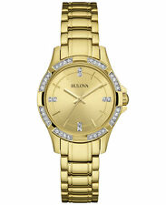 Bulova Women's 98L220 Swarvoski Crystals Quartz Yellow Gold Bracelet Watch