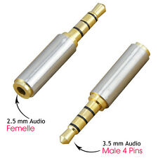 2.5mm Plug(Female) to 3.5mm 4PIN Jack(Male) Stereo Converter Adapter Gold Plate