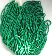 Vintage Teal Green Shiny Glass Opaque Charlotte Cut MICRO Seed Beads TWO Hanks