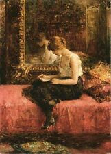 Oil painting Alexei Harlamoff - Literary Pursuits of a Young Lady in bedroom