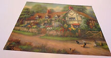 Cottage, Flowers, Chickens, Rock Fence, Gate, Trees, Road, Large Print 1940s