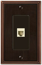 METRO LINE AGED BRONZE FINISH PHONE JACK & HARDWARE SWITCHPLATE WALLPLATE
