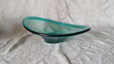 Biomorphic Oblique Teal Glass Bowl 10.25""
