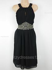 BNWT Little Mistress Black Chiffon Jewel Embellished Party Dress Size 10 RRP £75