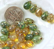 Tear Drop Beads, 6x9mm, Green & Yellow  w/ Silver Picasso Finish, 25 Beads