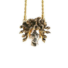 Han Cholo Brass Medusa Head Gold Necklace 26""