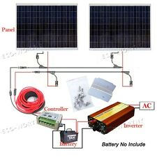 300Watt Solar Panel Kit: 2*180W 360W SHARP Solar Cell W/ 1KW Pure Sine Inverter