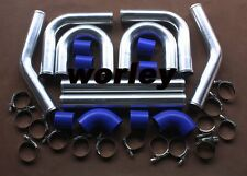"2.5"" 64mm Aluminum Universal Intercooler Turbo Piping pipe Kit + Blue hose kits"