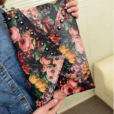 Women's rivet handbag bag Vintage preppy flower oil painting envelope bag
