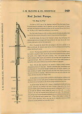 1904 AD 8 PG Red Jacket Well Water Hand Pumps Wood Cistern Pitcher Spout