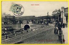 cpa Superbe 75 - PARIS Canal ST MARTIN Péniche MÉTRO Station ALLEMAGNE F. FLEURY