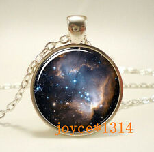 Vintage galaxy Cabochon Tibetan silver Glass Chain Pendant Necklace #475