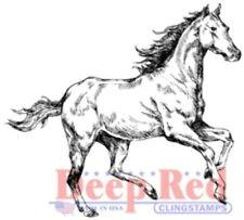 Deep Red Cling Rubber Stamp Rubber Stamp Spirited Horse Stalion