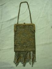 ANTIQUE MICRO STEEL CUT BEADED SILVER & GOLD FRINGED EVENING BAG PURSE ~ FRANCE