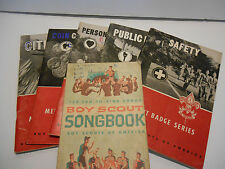 Boy Scout Merit Badge Books Lot of 5 + Songbook ~ Vintage 1960's