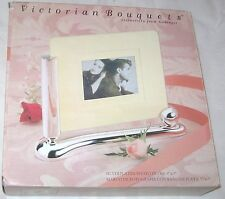 "NEW VICTORIAN BOUQUETS SILVER PLATED PHOTO FRAME 5"" X 7"" FREE SHIPPING U.S.A."