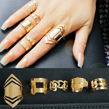 5 Pcs Women Lady Fashion 18K Gold Plated Knuckle Finger Ring Set Jewelry Party