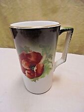 "RARE!!! Antique 1890's Dresden China Poppy Tall Tea Cup, Coffee Mug 4.75"" - #1"