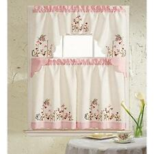 B&H Home Pink Butterfly Embroidered 3-Piece Kitchen Curtain Window Treatment New