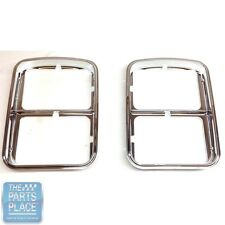 1976-77 Chevy Monte Carlo New Chrome Headlamp Bezels GM # 371167 / 371168 - Pair