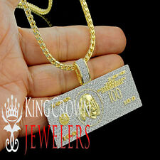 14K Yellow Gold Finish Cash $100 Bill Money Lab Diamond Mens Pendant Charm+Chain