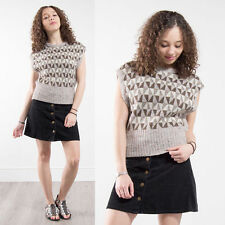 VINTAGE KNITTED 70S WOMENS RETRO PATTERN BROWN CREAM PULLOVER TANK TOP 12