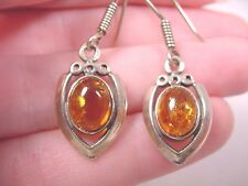 (PE32-1U) AMBER ORANGE Baltic Poland 925 Sterling SILVER dangle EARRINGS Jewelry